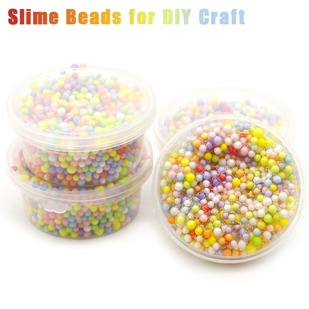 Outtop Rainbow Colorful Styrofoam Decorative Slime Beads DIY Craft For Crunchy Slime