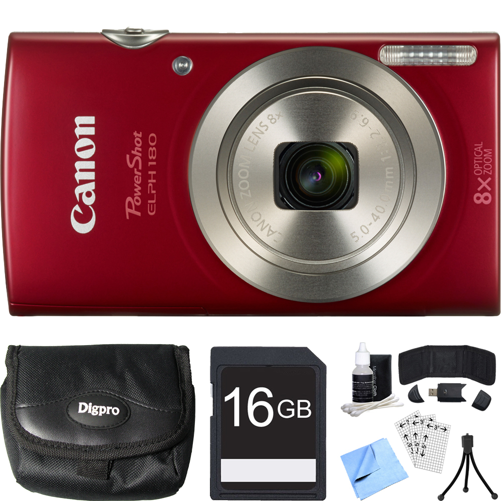Canon PowerShot ELPH 180 20MP HD Red Digital Camera 16GB Card Bundle includes Camera, 16GB Memory Card, Reader, Wallet, Case, Mini Tripod, Screen Protectors, Cleaning Kit and Beach Camera Cloth