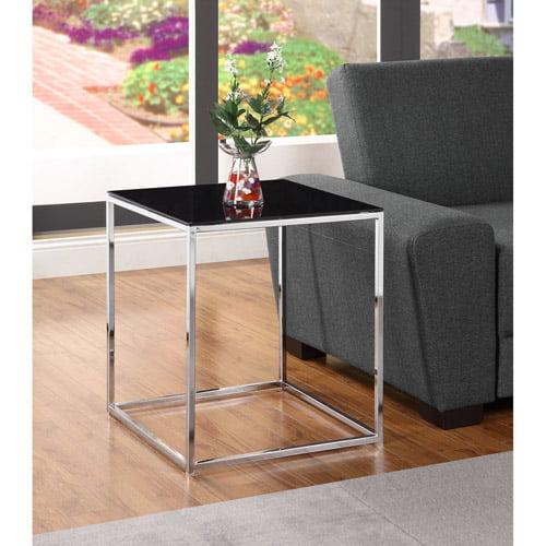 Kale Glass End Table, Black/Chrome