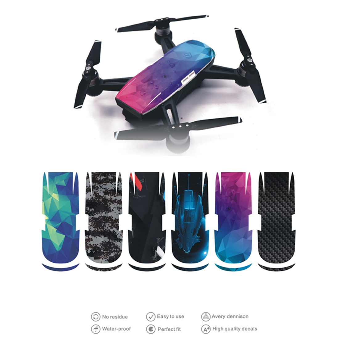 6Pcs/Set SPARK Drone PVC Waterproof Sticker Drone Body Shell Protection Skin