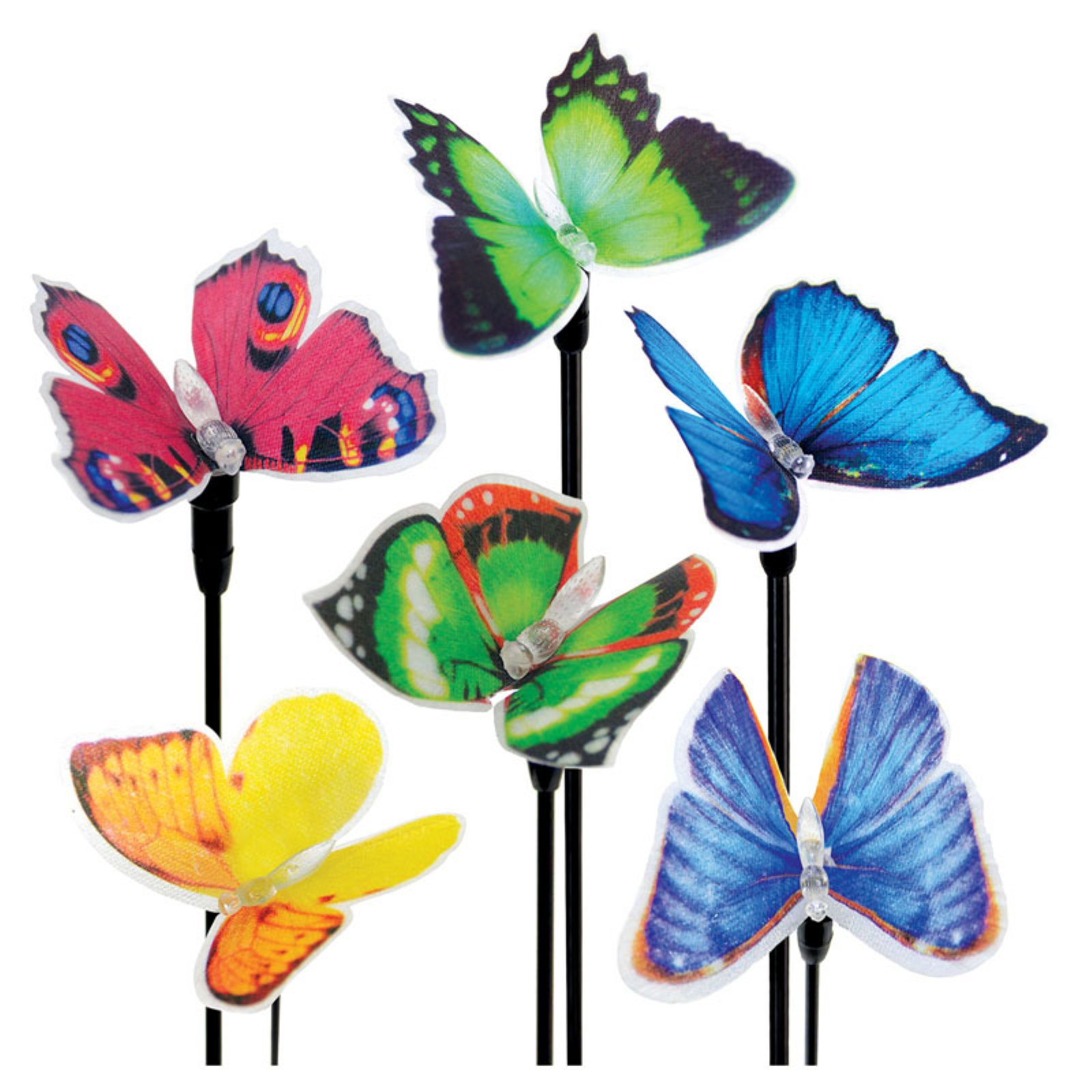 Exhart Solar Fiber Optic Butterfly Stakes - Set of 6