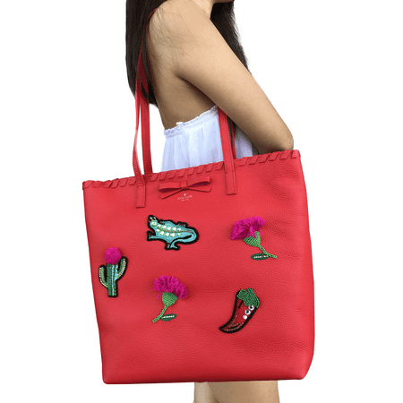 Kate Spade On Purpose Tote Leather Prickly Pear Peony Pink Red Ribbon Large