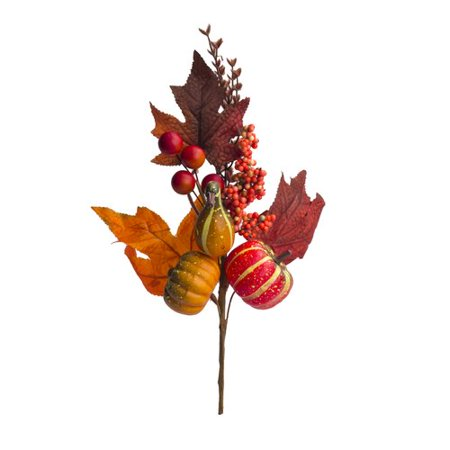 The Holiday Aisle Pumpkins Berries and Leaves Fall Stem (Set of 5)