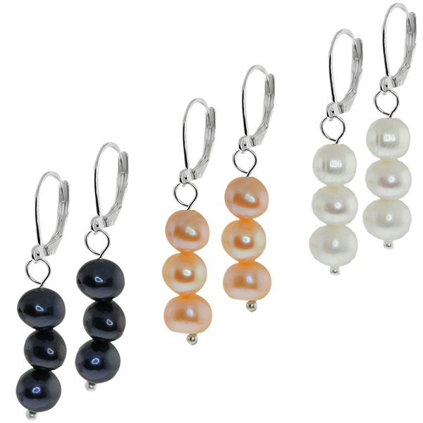 Set of 3 Black White & Pink Cultured Freshwater Pearl Lever Back Earrings 7-8MM