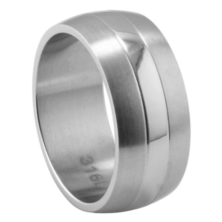 Men's 9MM Stainless Steel Shiny & Brushed Dome Wedding Band (Size 7 to (Brushed Stainless Steel Dome)