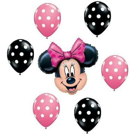 MINNIE MOUSE Pink Black Polka Dots Head Figure 7 Mylar + Latex Balloons Set Kit