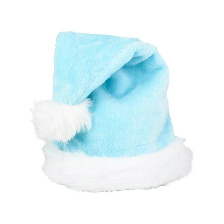Blue Santa Suit (Christmas Light Blue Plush Faux Fur Trim Santa Hat Costume)