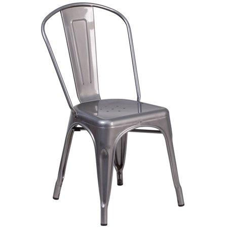 Flash Furniture Clear Coated Metal Indoor Stackable Chair Clear Metal Chair