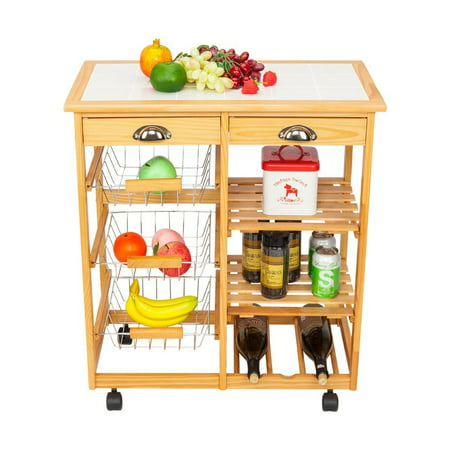 Table Storage Carts (Zimtown Portable Kitchen Cart Kitchen Storage Cart Kitchen Island Cart Table Rolling Trolley Stand Counter Top Table,White/Wood)