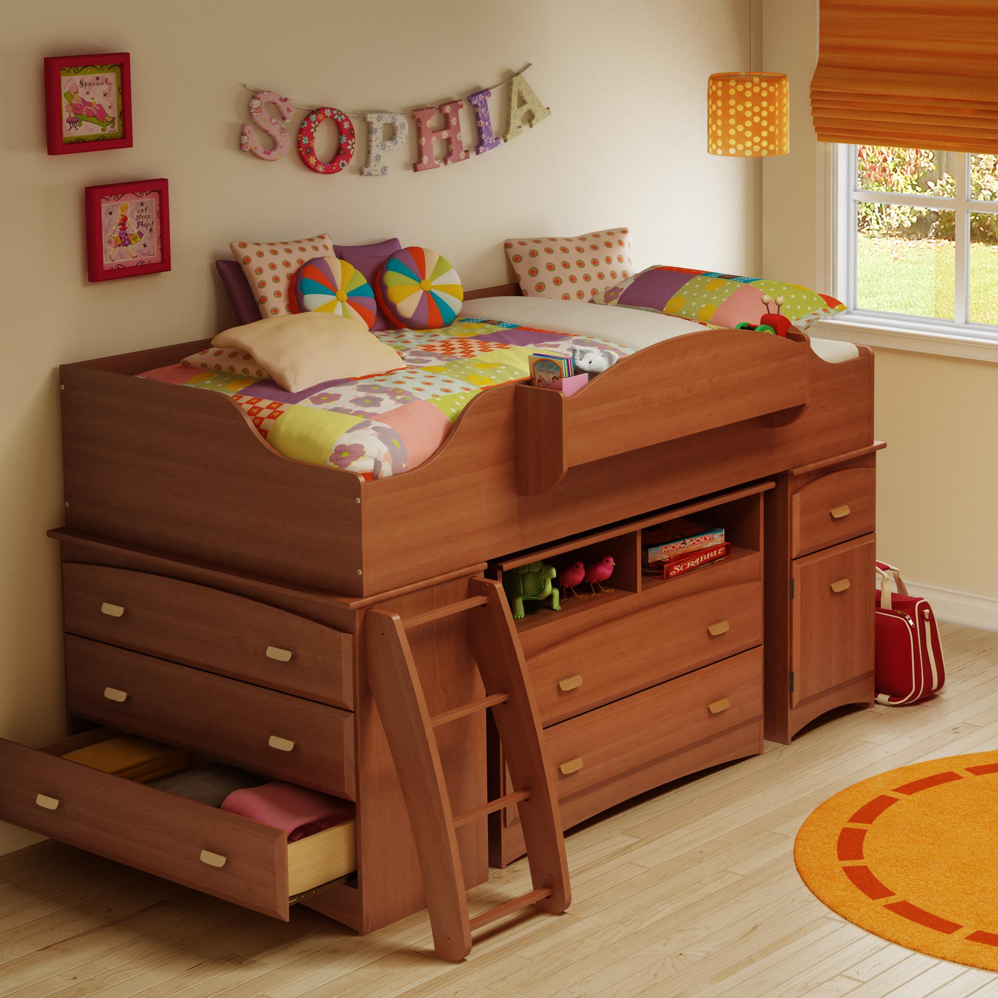 Imagine Twin Loft Bed with Media Chest-Finish:Morgan Cherry