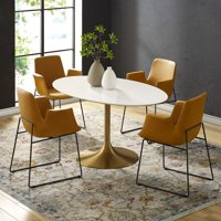"Lippa 60"" Oval Dining Table in Gold White"