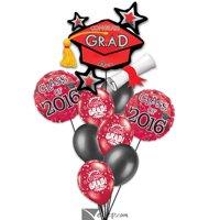 2018 Congrats Grad Cap Cluster Stars School Colors Decor 9pc Balloon Pack