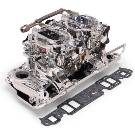 Edelbrock 20254 Intake Manifold RPM Series With Carburetor and Linkage; With Fuel Inlet; 1500-6500 RPM Range; Single-Plane; Dual 4-Barrel Carburetor; Aluminum; Endurashine - image 1 of 1