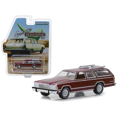 1985 Mercury Grand Marquis Colony Park with Roof Rack Burgundy 1/64 Diecast Model Car by Greenlight