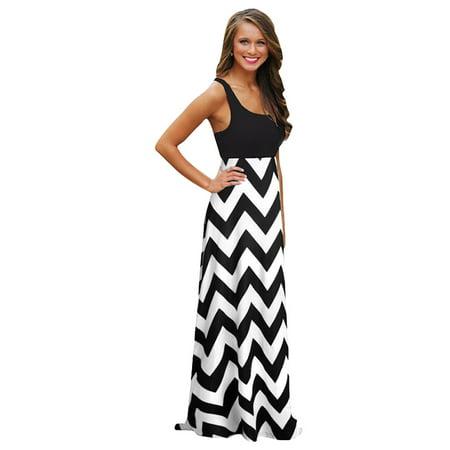a9d306a6628 Women s Summer Boho Chevron Long Maxi Dress Evening Cocktail Beach Tank Dress  Sundresses - XS