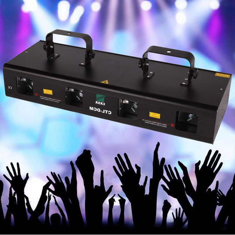 4 Lens 4 Beam RGPY DJ Disco Laser Effect Light Stage Party Dance Club Show DMX 7CH 460mW by