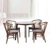 Dining Room Set of 4 Toby Chairs and Round Table Kitchen Modern Solid Wood w/Padded Seat Medium Brown Color with Light Gray Cushion