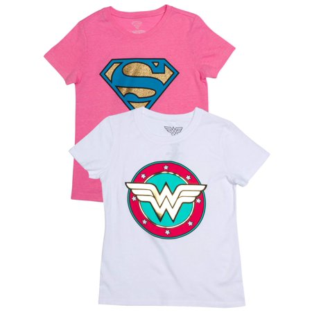 Supergirl and Wonder Woman Metallic Logo Graphic T-Shirts, 2-Pack Set (Little Girls & Big - Lego Offer