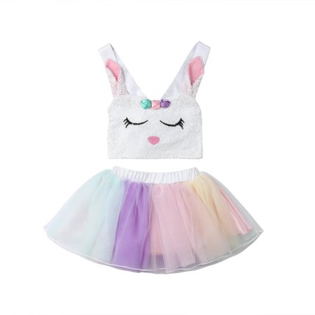Toddler Baby Girl Kids Rabbit Bunny Top Rainbow Skirt Fancy Tutu Dress Cosplay Costume - Baby Rabbit Costume
