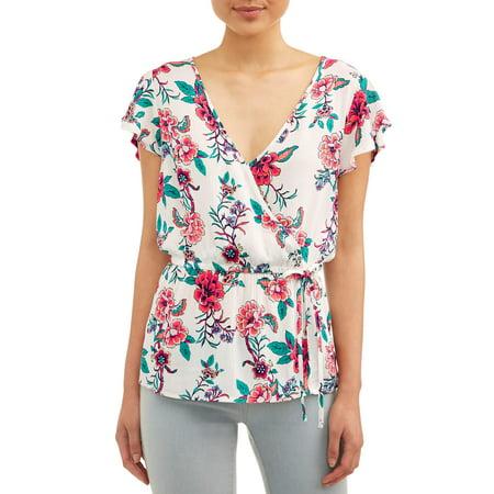 Juniors' Floral Printed Crinkle Gauze Surplice Flutter Sleeve -