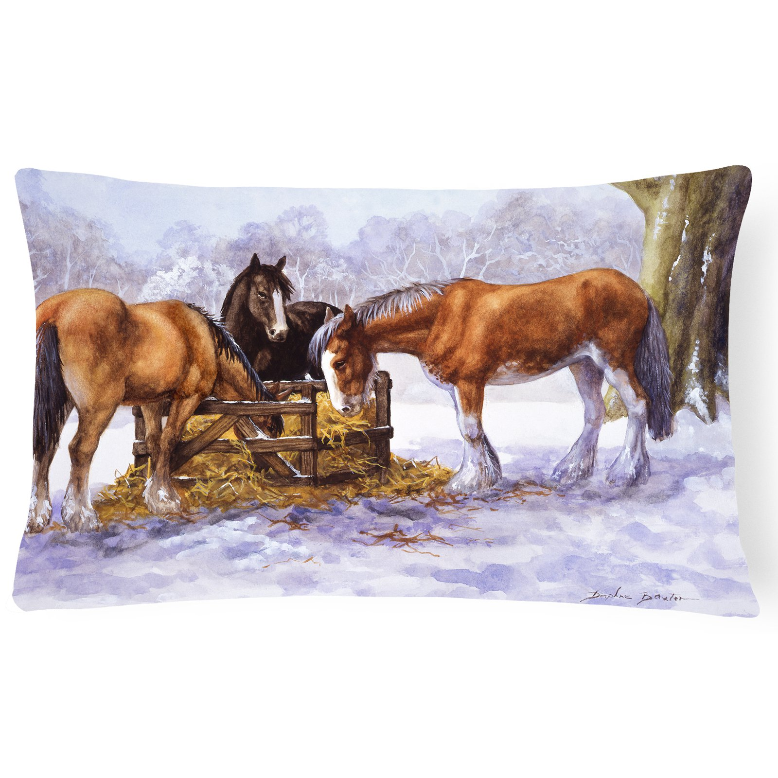 Horses eating Hay in the Snow Fabric Decorative Pillow