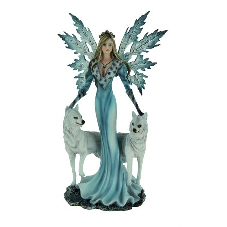 Winter Fairies (Blue Ice Fairy Standing With Winter White Wolves)