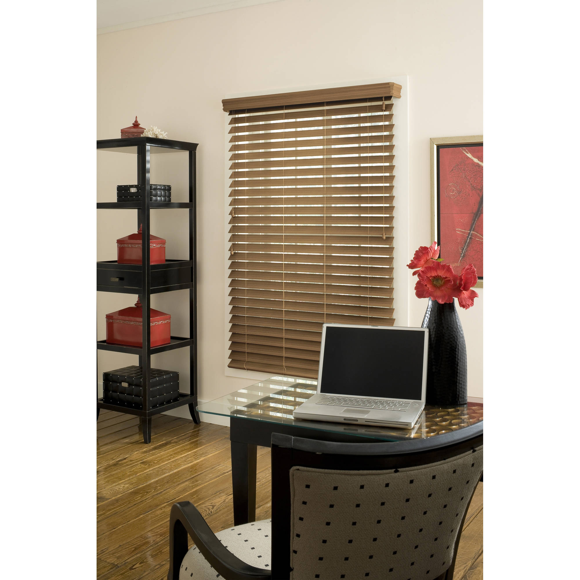 "Richfield Studio 2.5"" Faux Wood Blind, Maple, 48"" Length"