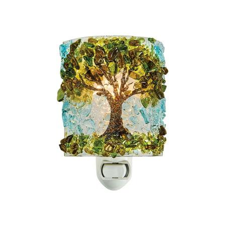 Reborn Glass Four Seasons Night Light: Summer Oak Tree - Hand Made Fused Glass Art Glass Upcycled Bottle Glass Plug In