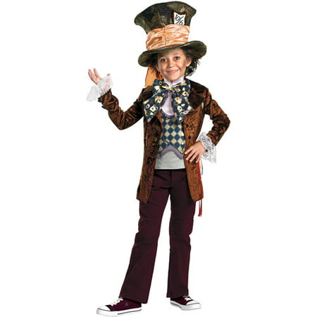 Alice in Wonderland Mad Hatter Deluxe Child Halloween Costume](Crazy Mad Hatter Costume)