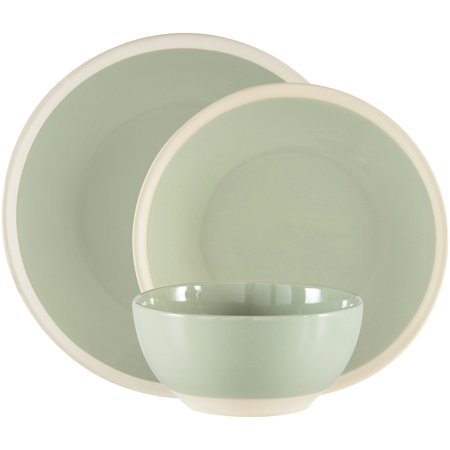 Mainstays Exposed Clay Collection Sage Stoneware Dinnerware Set, 12 Count
