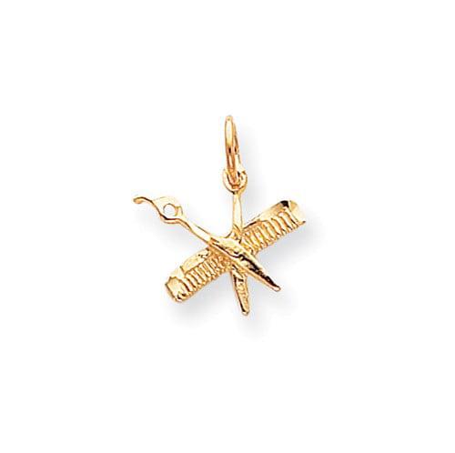 10k Yellow Gold Comb & Scissors Pendant