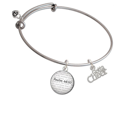 Gotta Cheer - Bible Verse Psalm 46:10 Glass Dome Bangle Bracelet