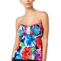 c996301c93da8 Product Image Swim Solutions Womens Sedona Floral Print Bandeau Tankini Top  8 Multi Swimsuit