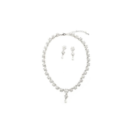 - Silver Crystal Rhinestone Flower Shape White Pearl Center Necklace & Matching White Pearl Dangle Earrings Jewelry Set