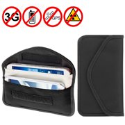 Anti-Radiation Bag Anti-Tracking Pouch EMF Protection for Phone Anti-spying GPS RFID Signal Blocker Bag Cell Phone Case For Devices Upto 6.3 Inches (Black)
