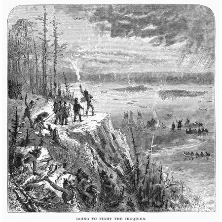 Canada Native American War Nhurons Gathering To Fight The Iroquois In The Colony Of New France During The 17Th Century Wood Engraving 19Th Century Rolled Canvas Art     24 X 36