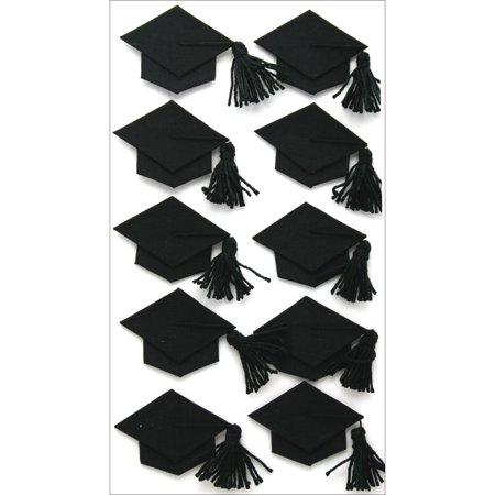 Jolee's Boutique Dimensional Stickers-Black Graduation Caps