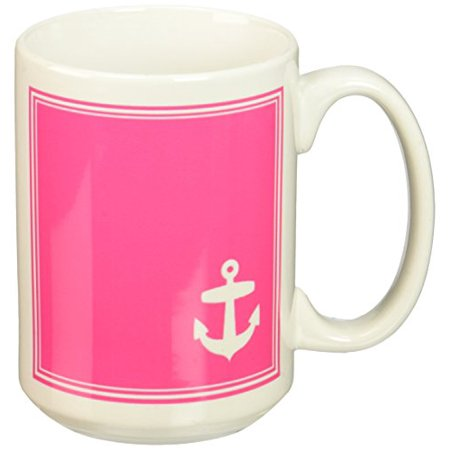 3dRose Contemporary Stylish Nautical White Sailing Anchor in Corner on Hot Pink with white border, Ceramic Mug, 15-ounce