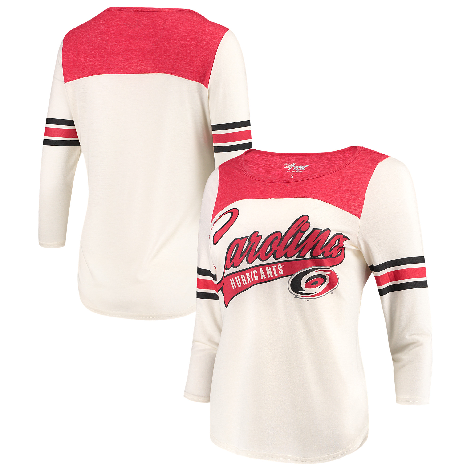 Carolina Hurricanes G-III 4Her by Carl Banks Women's Endzone 3/4-Length Sleeve T-Shirt - Cream/Red