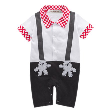 StylesILove Baby Boy Mickey Mouse Faux Suspender Costume Romper (6-12 Months) (Toddler Boy Mickey Mouse Costume)