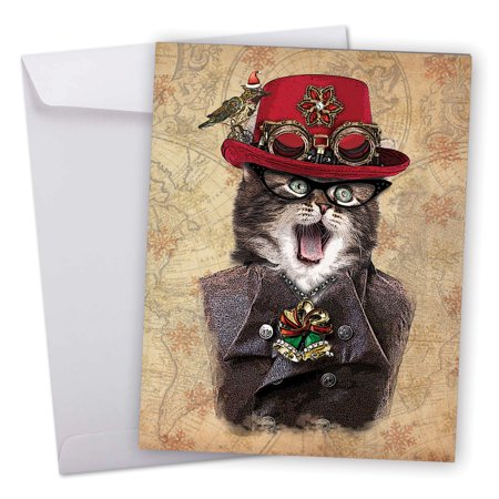 J6554CXSG Big Merry Christmas Greeting Card: 'Steampunk Cats' Featuring a Fashionable Feline Dressed Up in All Its Victorian Steampunk Finery Greeting Card with Envelope by The Best Card Company