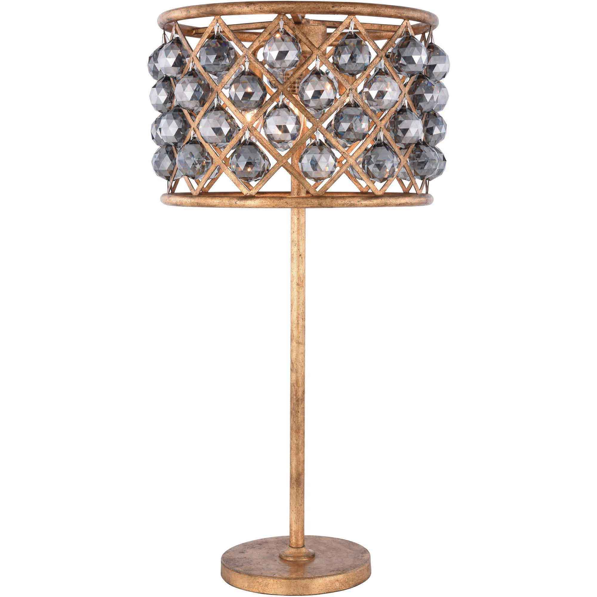 "Madison Collection Table Lamp D:15.5"" H:32"" Lt:3 Golden Iron Finish Royal Cut Silver Shade (Grey)"
