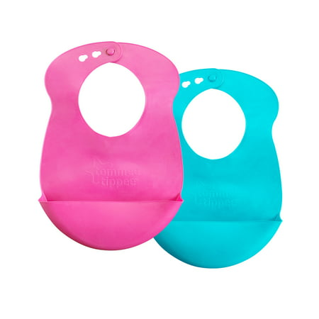 Tommee Tippee Easi-Roll Baby Bib, 7+ months - Pink and Teal, 2 Count (Frosty Bib)