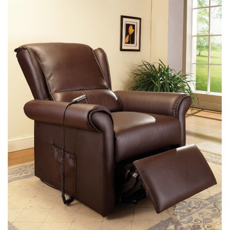 Acme Emari Recliner With Lift And Massage  Dark Brown Faux Leather