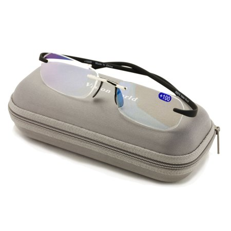 V.W.E Rectangular Rimless Memory Flex Temple Reading Glasses With Anti-reflective AR (Rectangular Face Glasses)