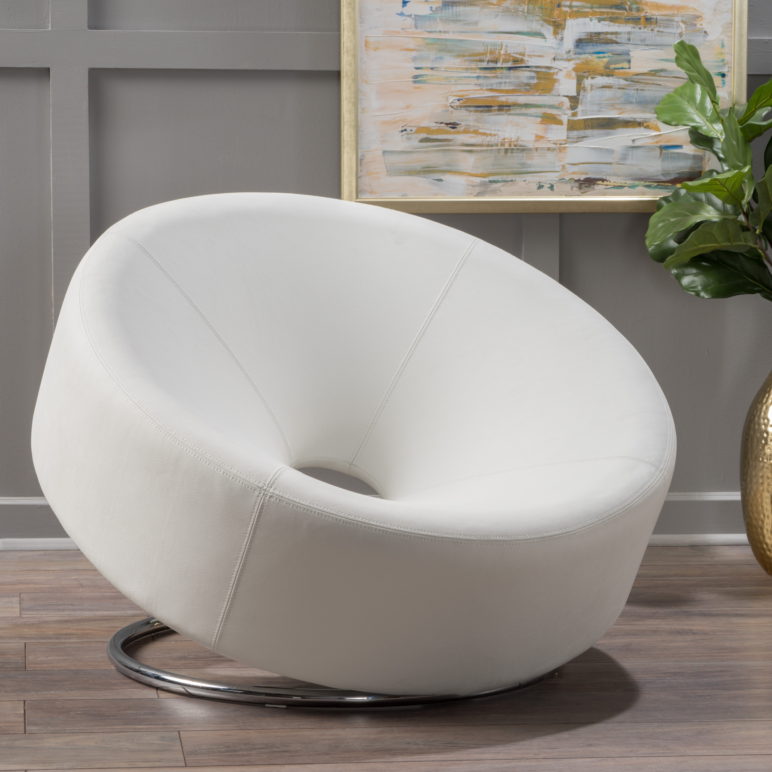 Noble House Jetson Large Modern Bonded Leather Round Accent Chair, White
