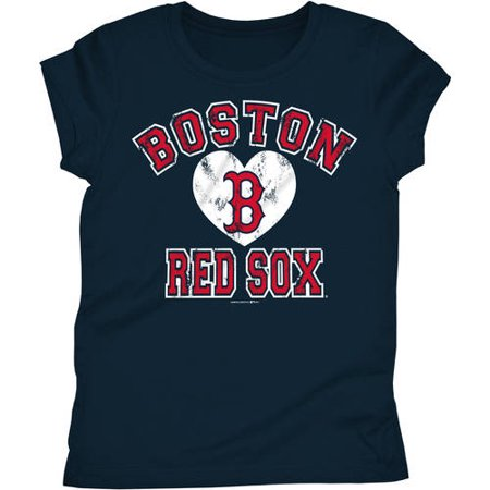 MLB Boston Red Sox Girls Short Sleeve Team Color Graphic Tee