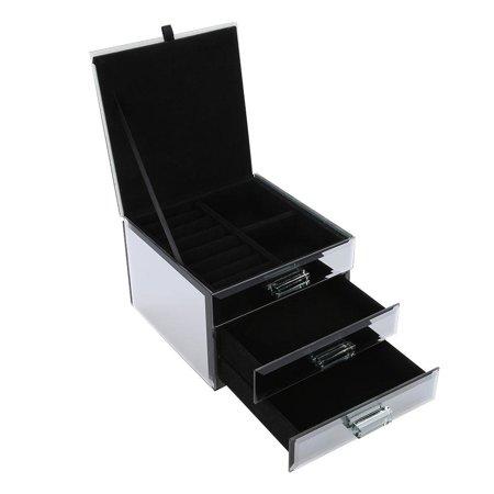 Yosoo Jewelry Box, 3 Layers Mirrored Jewelry Box Trinket Storage Make-up Container Case Drawer