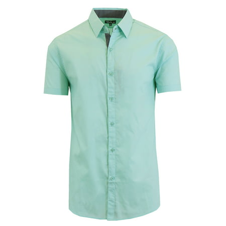 Mens Short Sleeve Dress Shirts Casual Slim Fit