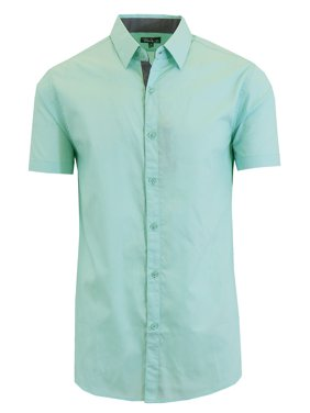 Mens Short Sleeve Dress Shirts Casual Slim Fit